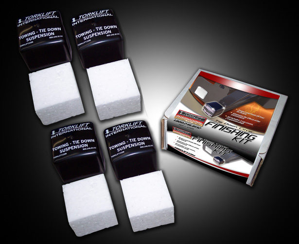 Tie Down Finishing Kit includes 4 vinyl caps, 4 expanded styrofoam plugs