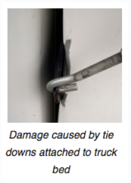 damage caused by truck bed mounted tie downs