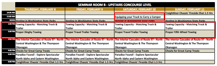 Seattle RV Show Seminar Schedule